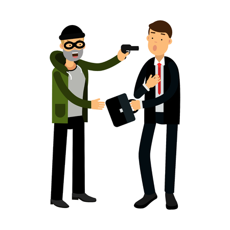 Masked thief character stealing briefcase from businessman vector Illustration