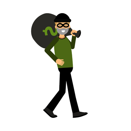 Masked thief character carrying a big money bag vector Illustration