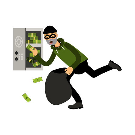 Professional masked burglar character stealing money from an open safe vector Illustration