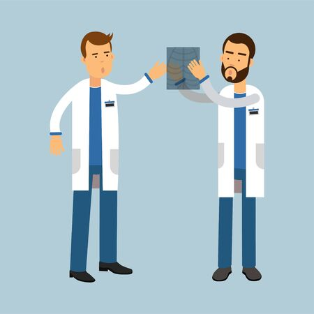 Two males doctor characters in uniform examining xray and discussing, medical care vector Illustration