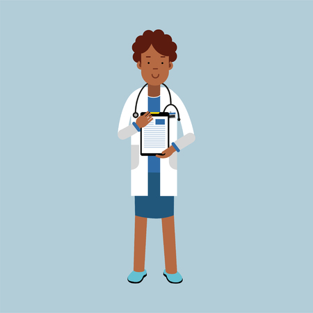 white coat: Black female doctor character in a white coat standing with stethoscope and medical notepad with prescription, medical care vector Illustration