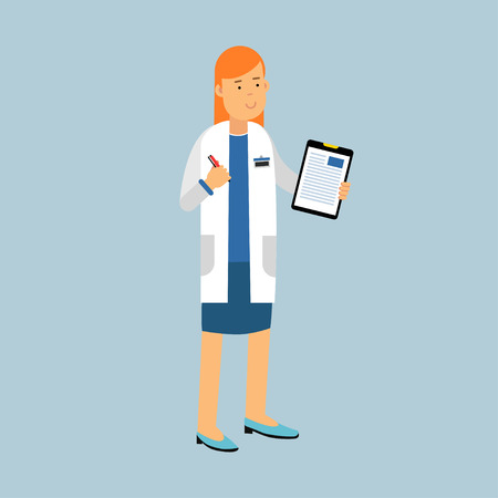 Female doctor character in a white coat standing and filling the medical report or prescription, medical care vector Illustration