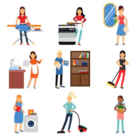 Huisvrouw in huishoudelijk werk activiteit ingesteld, huisvrouw schoonmaak en huishouden vectorillustraties Stock Illustratie