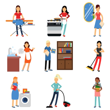 Housewife in housework activity set, homemaker cleaning and housekeeping vector Illustrations