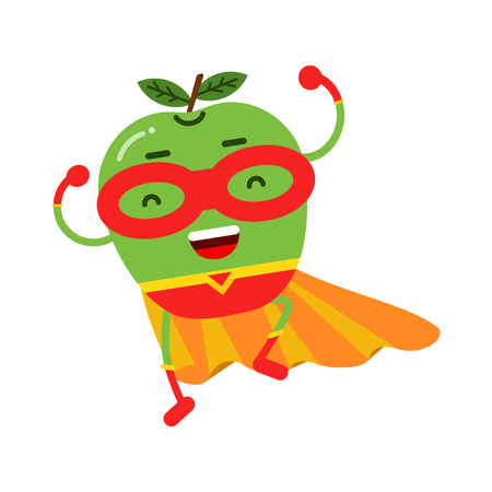 Cute cartoon smiling apple superhero in mask and yellow cape, colorful humanized fruit character vector Illustration Illustration