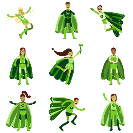 Male and female eco superheroes characters set, young people in different poses with green capes vector Illustrations