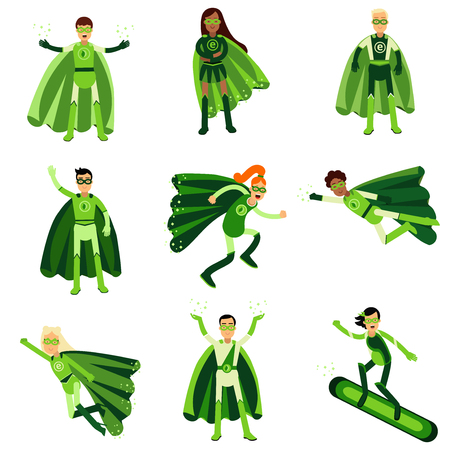 super man: Young people in green eco superheroes costumes set of vector Illustrations