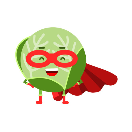 Cute cartoon cabbage superhero in mask and red cape, colorful humanized vegetable character vector Illustration