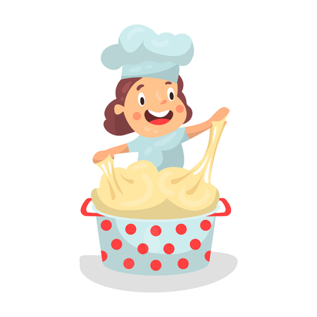Cute cartoon little girl chef character kneading the dough vector Illustration Illustration