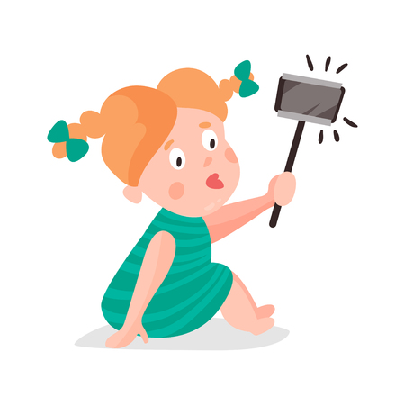 using smartphone: Cute cartoon redhead girl making selfie with a stick colorful character vector Illustration