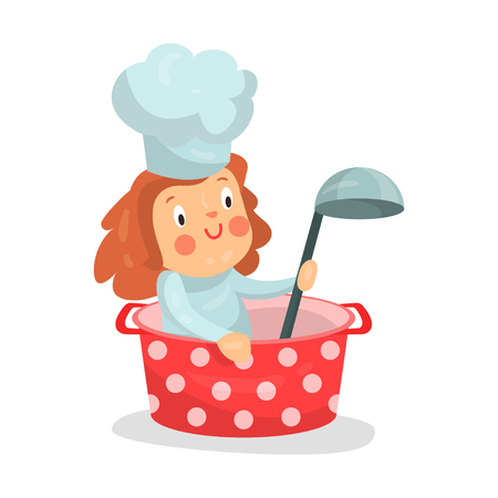 ladles: Cute cartoon little girl chef character sitting in a pan with ladle vector Illustration