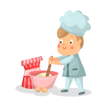 Cute cartoon little boy chef character with mixing bowl and a whisk vector Illustration