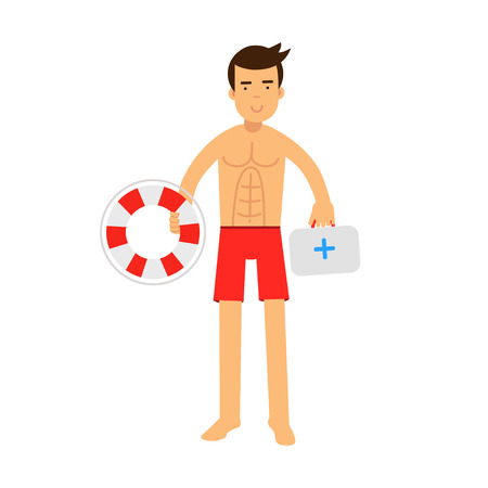 Lifeguard man character on duty holding lifebuoy and first aid kit vector Illustration
