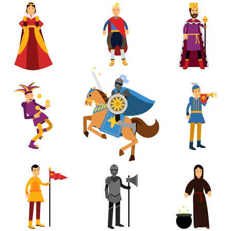 Medieval characters in the historical costumes of medieval Europe set of vector Illustrations Çizim
