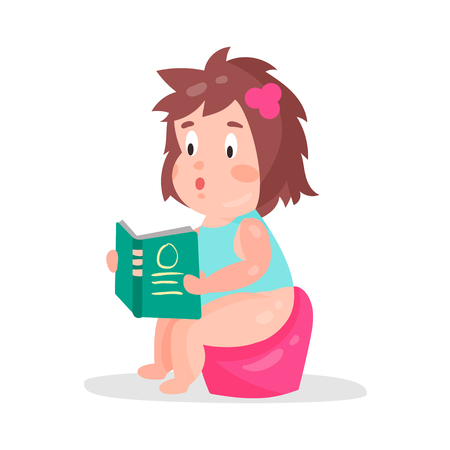 Cute cartoon little girl sitting on a pot and reading a book colorful character vector Illustration Illustration