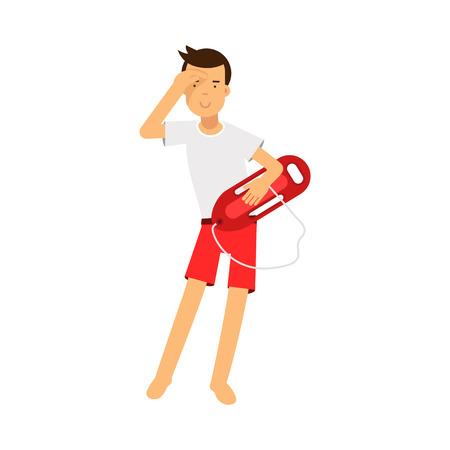 Lifeguard Mann Charakter im Dienst stehen mit Rettungsring Boje und Blick in die Ferne Vektor Illustration