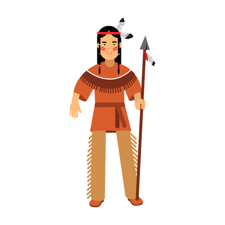 Native american indian in traditional costume standing with spear vector Illustration isolated on a white background