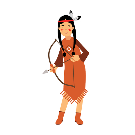 Native american indian girl in traditional costume archery with a bow vector Illustration isolated on a white background Illustration