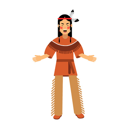 Native american indian in traditional costume vector Illustration isolated on a white background