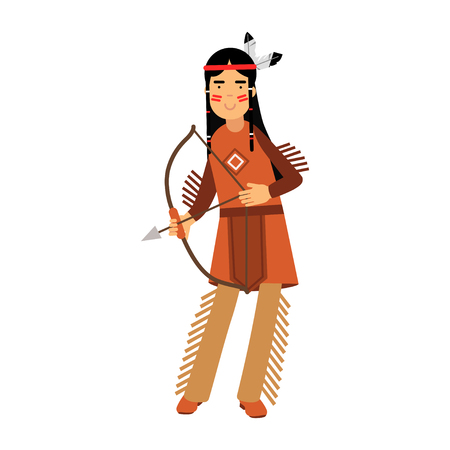 Native american indian girl in traditional costume posing with a bow vector Illustration isolated on a white background