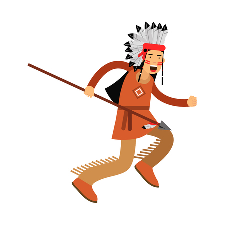 Native american indian in traditional costume and headgear running with spear vector Illustration isolated on a white background Illustration