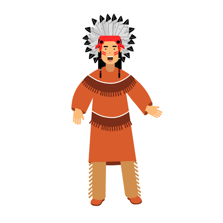 Native american indian in traditional costume and headgear vector Illustration isolated on a white background