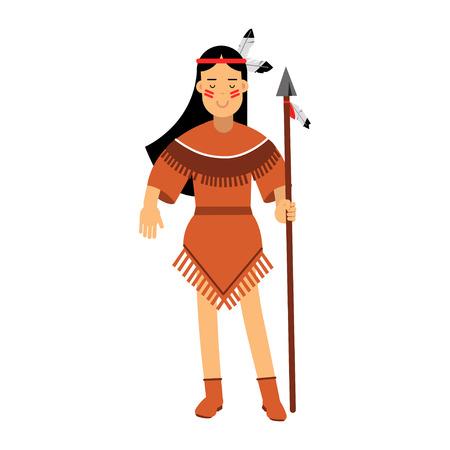 Muchacha india del nativo americano en el traje tradicional que presenta con el ejemplo del vector de la lanza aislado en un fondo blanco Foto de archivo - 82402632