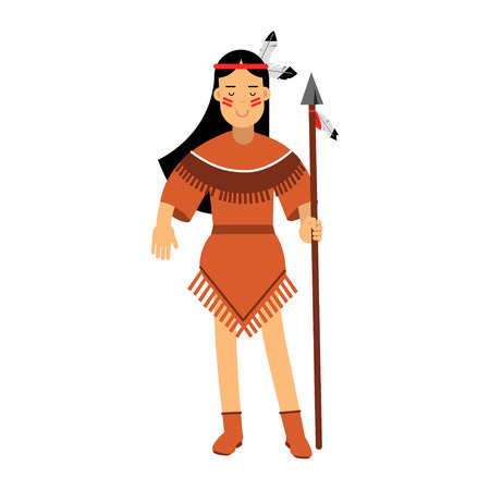 Native american indian girl in traditional costume posing with spear vector Illustration isolated on a white background