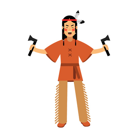 Native american indian in traditional costume standing with two tomahawks vector Illustration isolated on a white background Illustration