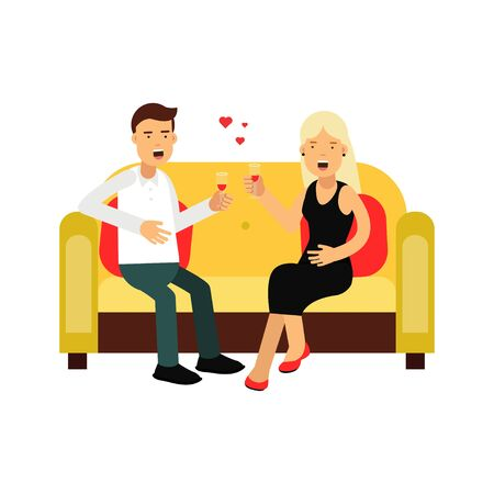 Young couple in love sitting on a sofa vector Illustration isolated on a white background