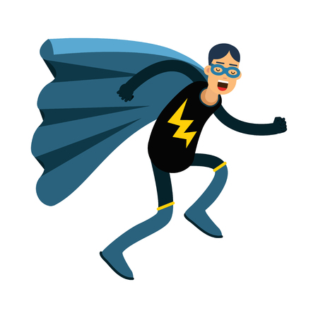 Young masked man in a superhero costume and blue cape running vector Illustration