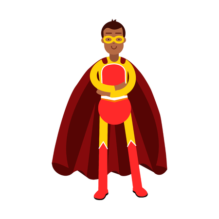 arms folded: Young smiling masked man in a red superhero costume standing with folded arms vector Illustration Illustration