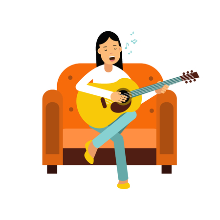 Young woman sitting on an orange armchair and playing guitar vector Illustration
