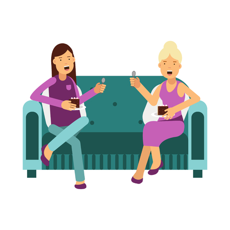 Two women sitting on a sofa talking and eating a cake vector Illustration Иллюстрация