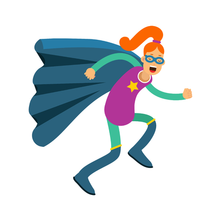 Young redhead woman in classic superhero costume and a blue cape vector Illustration Çizim