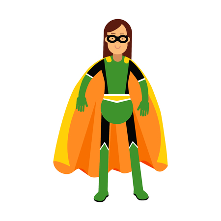 cloak: Young masked brunette woman in a colorful superhero costume vector Illustration Illustration