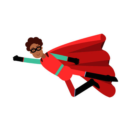 Young black man in classic red superhero costume vector Illustration