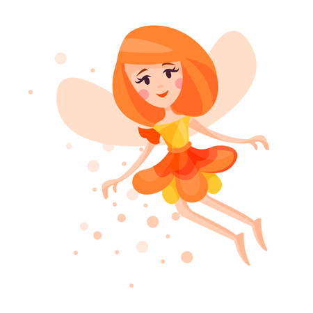 Beautiful fairy with wings, long hair and dress in orange red colors flying surrounded by sparks vector Illustration