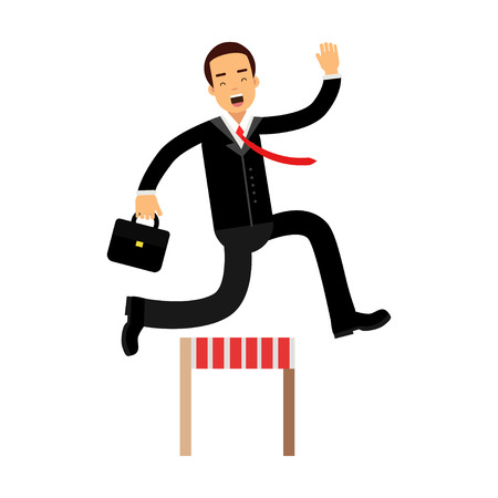 Businessman character racing over hurdle obstacles, business competition vector Illustration