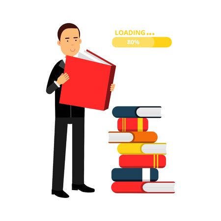 Businessman character reading books and getting knowledge, business competition vector Illustration Illustration