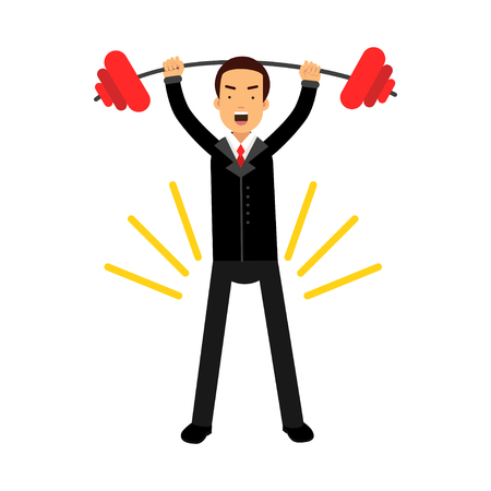 Businessman character lifting barbell up over head achieving his goal, business challenge and  success vector Illustration