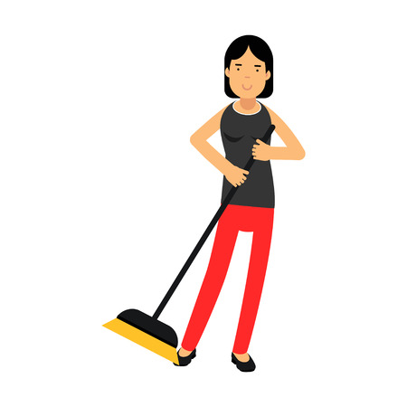 Beautiful young brunette woman housewife sweeping the floor, home cleaning and homework vector Illustration