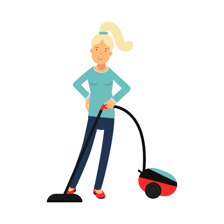 Beautiful young blonde woman housewife cleaning the floor with vacuum cleaner, home cleaning and homework vector Illustration Illustration