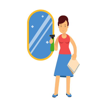 wiping: Beautiful young brunette woman cleaning mirror using cleaner sprayer, home cleaning and homework vector Illustration Illustration