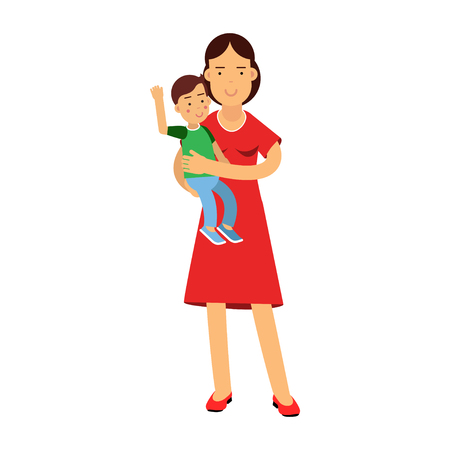 Beautiful young brunette woman holding son in her arms, care and upbringing of the child vector Illustration
