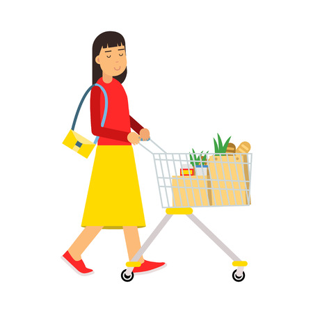 Beautiful young brunette woman with shopping cart, shopping in the supermarket vector Illustration