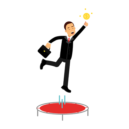 Businessman using a trampoline trying to catch an idea vector Illustration Illustration