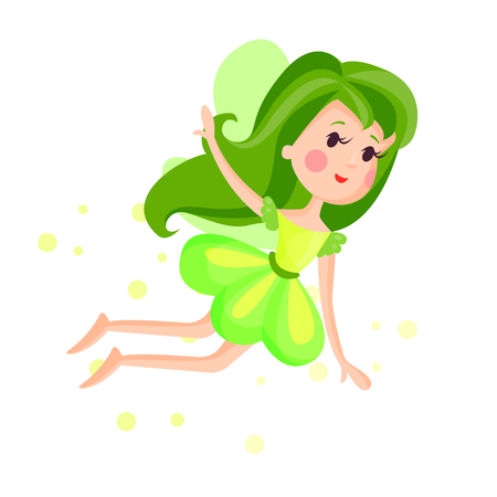 Beautiful fairy with wings, long hair and dress in bright green colors flying surrounded by sparks vector Illustration