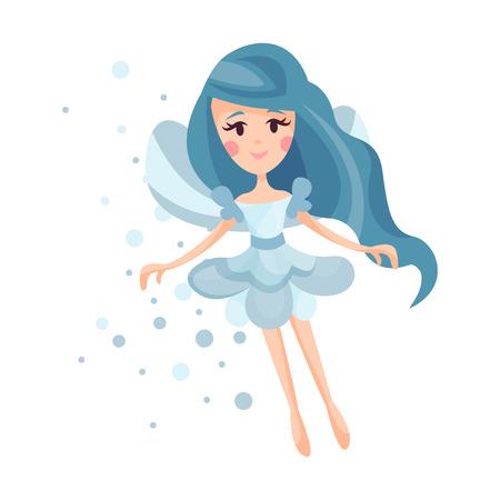 Mooie fee met vleugels, lang haar en kleding in korenbloem blauwe kleuren vliegen omringd door vonken vectorillustratie