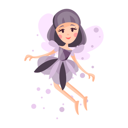 Beautiful fairy with wings, long hair and dress in lavender colors flying surrounded by sparks vector Illustration Illustration